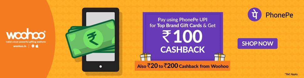 PhonePe offers on gift cards