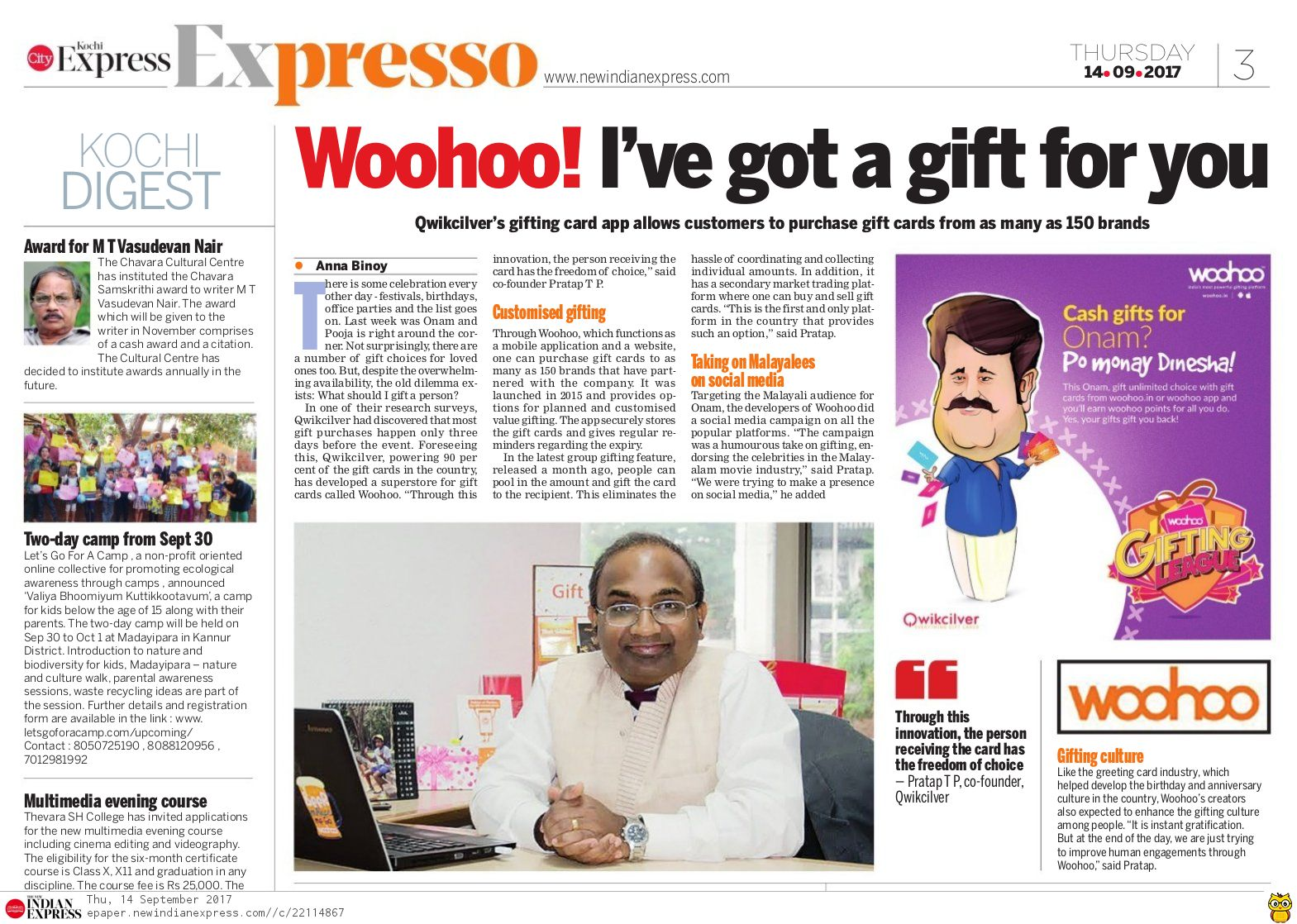 woohoo in new indian express